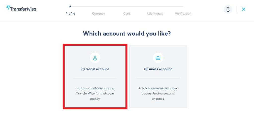 choose account type