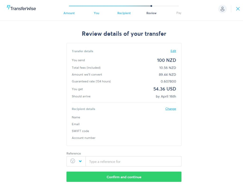 review details of your transfer