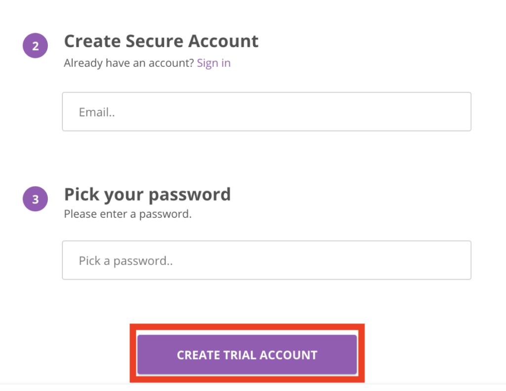 create trial account